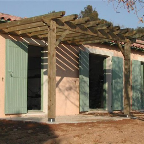 Charpente bois en kit pergola for Photo pergola bois